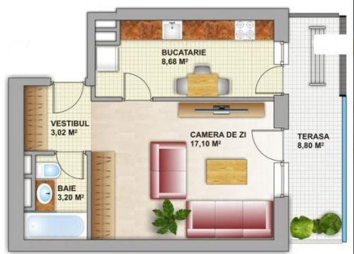 Plan apartament 1 camera Citadella Titan