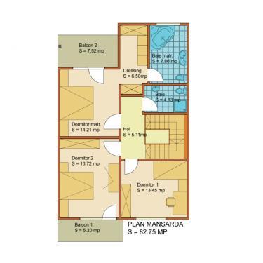 Plan mansarda vila