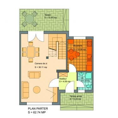 Plan parter vila cuplata - Ansamblul rezidential Victoria