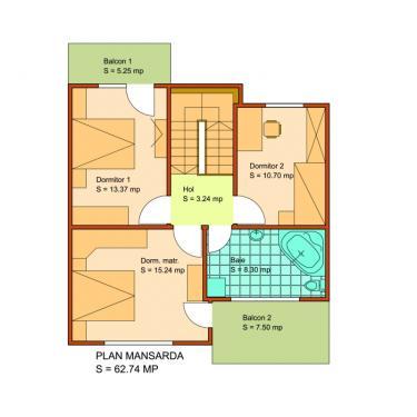 Plan mansarda vila cuplata - Ansamblul rezidential Victoria