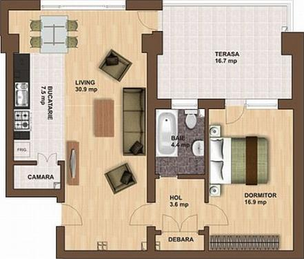 Apartament cu 2 camere la etajul 8