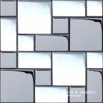 Mozaic argintiu alb din sticla