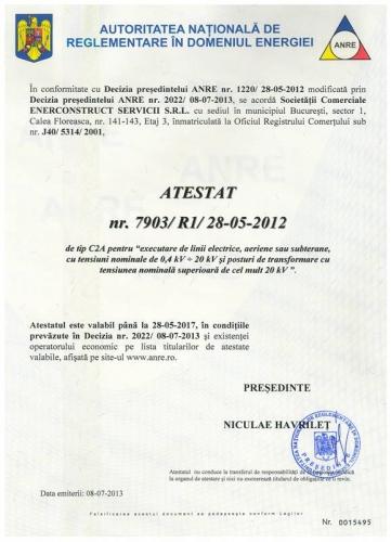 Certificare ANRE pentru linii electrice